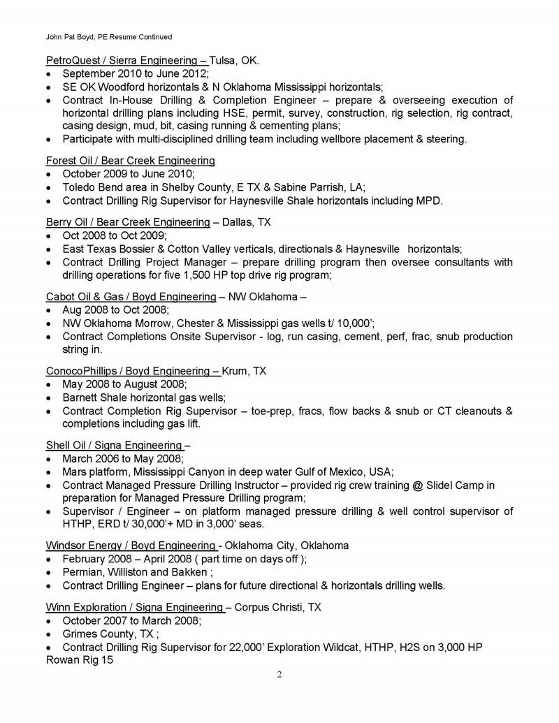 Resume Page 2  Petroleum Engineer Resume