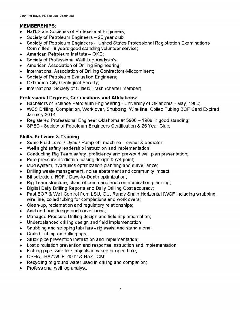 john pat boyd pe petroleum engineering consultant resume page 7 resume page 7